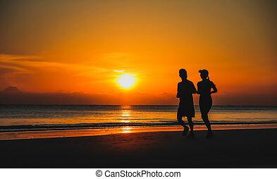 女, 操業, 若い, 一緒に, 湖, 日没, coast., couple:, silhouette., 人
