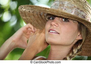 女, 攻撃する, わら, 若い, クローズアップ, 帽子