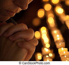 女, 教会, 切り取った, 顔, 部分, クローズアップ, 手, 肖像画, 祈ること