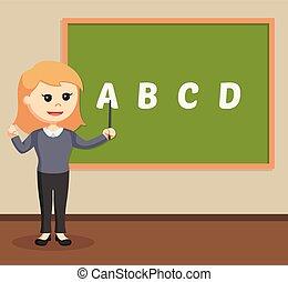 女, 教師, クラスで, 部屋