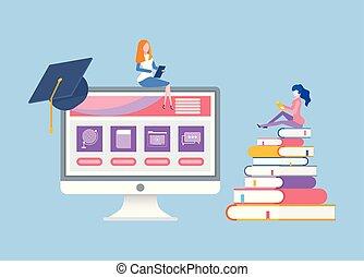 女, 教育, コース, 遠い, オンラインで, 読書