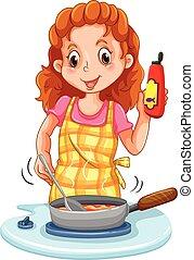 女, 料理, パン