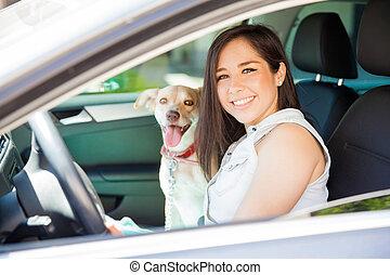 女, 旅行, 彼女, 犬