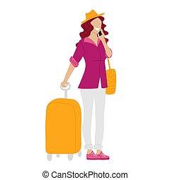 女, 旅行, 旅行, adventure., 話し, 電話。, スーツケース, 休暇