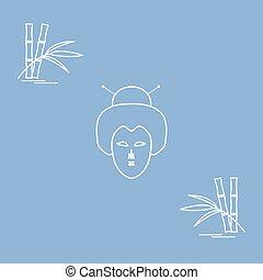 女, 旅行, 日本語, 顔, 定型, leisure., bamboo., アイコン