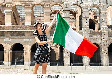 女, 旗, 保有物, 前部, colosseum, イタリア語