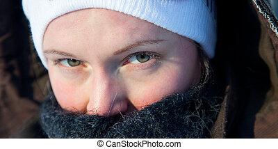 女, 日, 冬, 若い