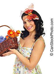 女, 春, バスケット, 美しい, 把握, 花