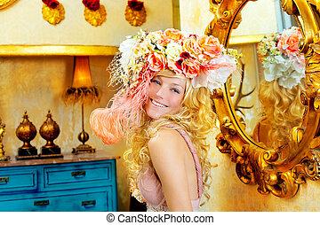 女, 春, ファッション, ブロンド, 花, 帽子