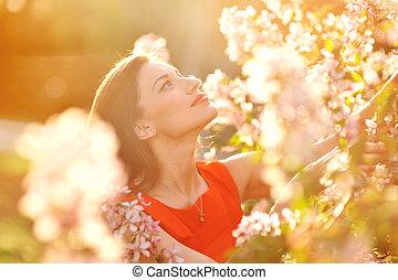 女, 春, 若い, 肖像画, 美しい, 花