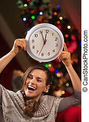 女, 時計, 提示, 木, 朗らかである, 前部, クリスマス