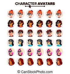 女, 有色人種, placeholder., default, member., 特徴, イラスト, avatar, vector., 漫画, アイコン