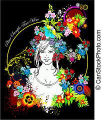 女, 有色人種, silhouette., ベクトル, 花, illustration.
