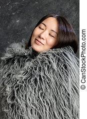 女, 服を着せられる, 毛皮, 美しい, 韓国語, マント