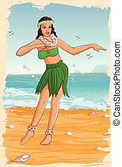 女, 服, レトロ, ハワイのダンス