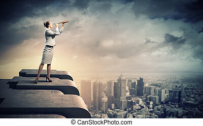 女, 望遠鏡, ビジネス