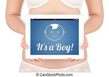 女, 期待, 男の赤ん坊, 妊娠した