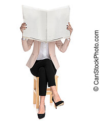 女, 木製である, 読む新聞, 椅子, 座る, 偶然, 痛みなさい