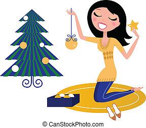女, 木, 幸せ, 隔離された, 準備, クリスマス, 白