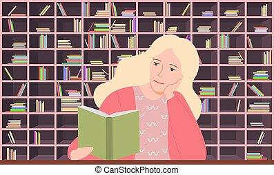 女, 本, ブロンド, 読書, モデル, 図書館