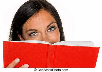 女, 本, 読書