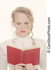 女, 本, 読書, ロマンチック