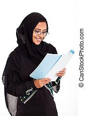 女, 本, 読書, muslim, 女性