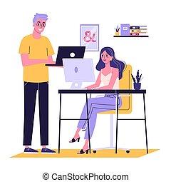 女, 机, 仕事, モデル, コンピュータ, 若い