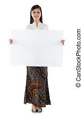 女, 東南アジア, 保有物, ブランク, 白, カード