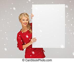 女, 板, ブランク, 美しい, 服, 赤