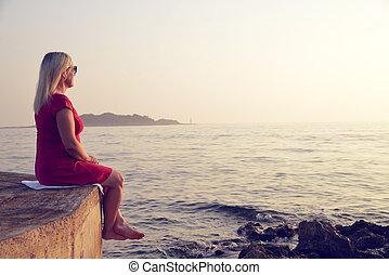 女, 桟橋, sea., モデル