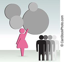 女, 概念, ビジネス, ショー
