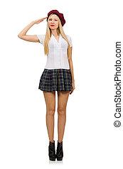 女, 概念, ファッション, 隔離された, 白