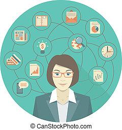 女, 概念, 現代 ビジネス