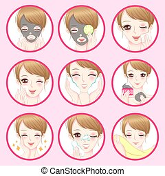 女, 概念, 美顔術, 皮膚