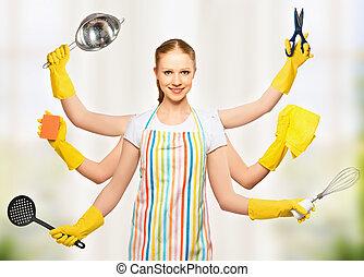 女, 概念, omnipotent, 多数, 普遍的, 主婦, idea., 計画, 世帯, hands.