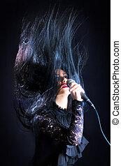 女, 歌うこと, ∥で∥, マイクロフォン, 髪アップ, 空中に