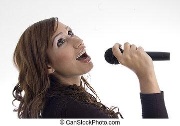 女, 歌うこと, 中に, マイクロフォン