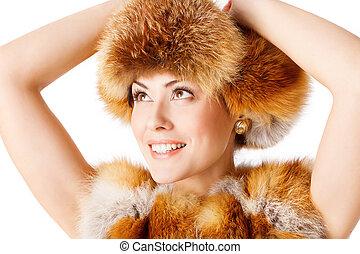女, 毛皮, 冬, キツネ, 隔離された, コート, ファッションモデル, 帽子, 白