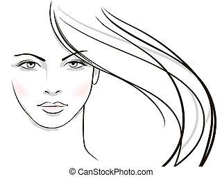 女, 毛, 若い, 顔, ブロンド, 長い間