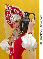 女, 水差し, 手掛かり, ロシア人, close-up., 服, 人々