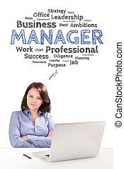 女, 泡, ビジネス, モデル, ラップトップ, 仕事, 若い, 感情, マネージャー, 概念, 下に, 前部