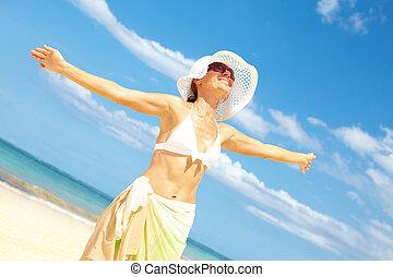 女, 浜。