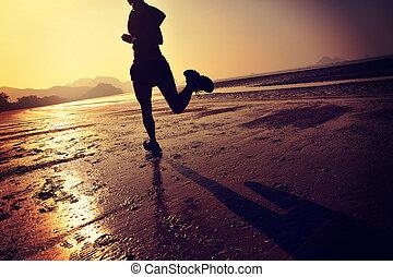 女, 浜, 日の出, ライフスタイル, 若い, 健康, 動くこと