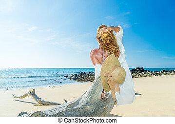 女, 浜, 木, トロピカル, トランク, モデル