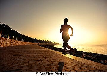 女, 海岸, 操業, 若い, 日の出