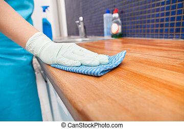 女, 清掃, 台所, countertop