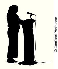 女, 演説