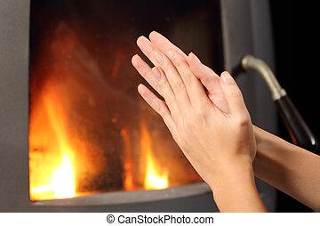 女, 火, 加熱, 場所, 手, 前部