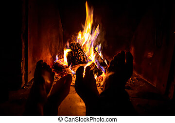 女, 火, 開いた, 若い, 裸, 加熱された, 足, 暖炉, 人